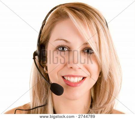 Beautiful Smiling Woman Wearing Headset