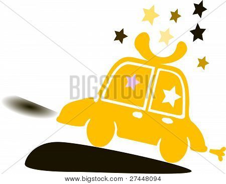 Orange yellow car & stars