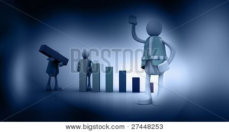 Manager and Team in abstract background