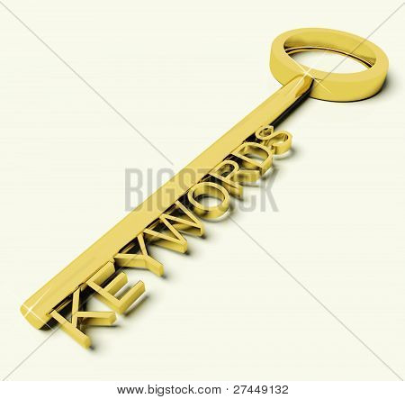 Key With Keywords Text As Symbol For SEO Or Searching