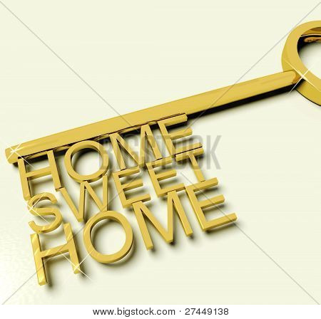Key With Sweet Home Text As Symbol For Property And Ownership