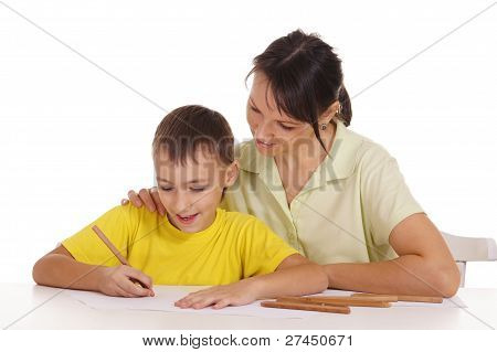 Mom And Son Drawing