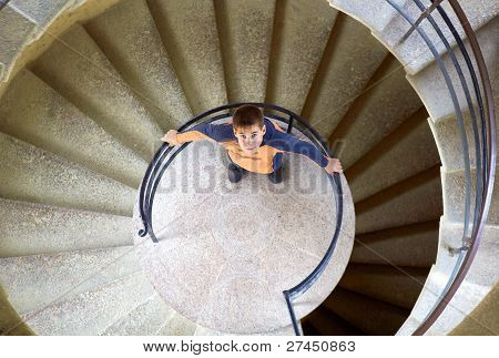 young boy with mother on staircase