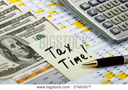 Financial Forms With Pen, Sticker, Calculator And Money.
