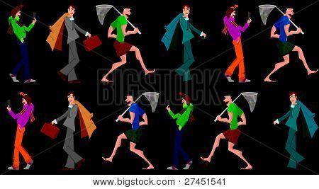 Three Men Walking Seamless Pattern