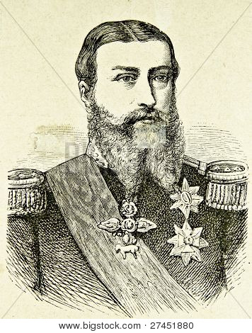"Portrait of Belgium's King Leopold II. Illustration by Alwin Zschiesche, published on ""Illustrierts Briefmarken Album"", Leipzig, 1885."