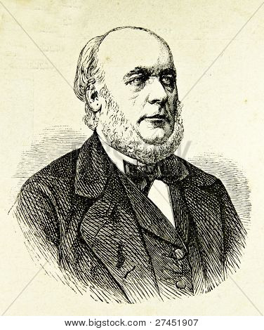 "Portrait of President France  Republic  Jules Grevy. Illustration by Alwin Zschiesche, published on ""Illustrierts Briefmarken Album"", Leipzig, 1885."