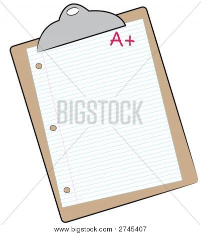Clip Board W Lined Paper And A Plus