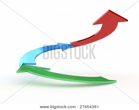 3D Graph Showing Profits Or Earnings