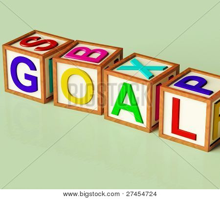Blocks Spelling Goal As Symbol For Target And Success