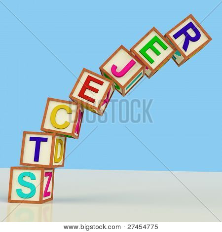 Blocks Spelling Rejects Falling Over As Symbol For Failure And Malfunction
