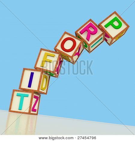 Blocks Spelling Profit Falling Over As Symbol For Business And Expenses