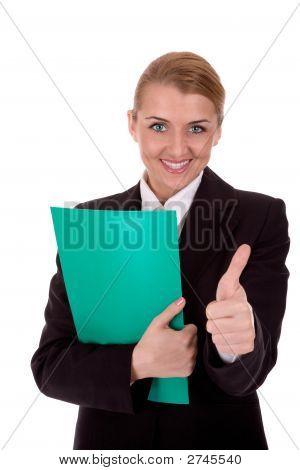 Attractive Business Woman Show Thumb Up Over White