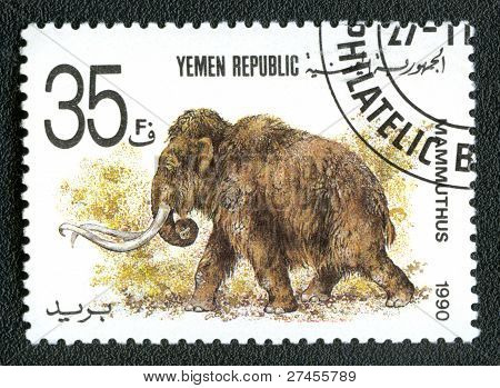 Yemen Republic - Circa 1990: A Stamp Printed In Yemen Shows Mammuthus, Circa 1990.