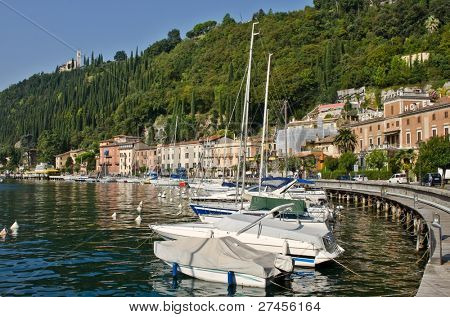 Yachts in small town of Toscolano on Garda Lake, Italy