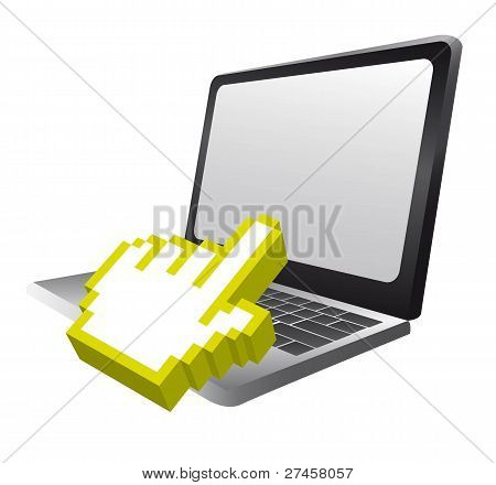 laptop with cursor