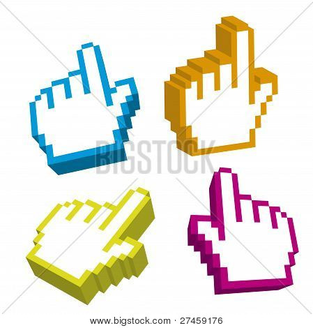 cursores 3D de mano