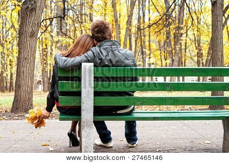 romantic couple on a bench