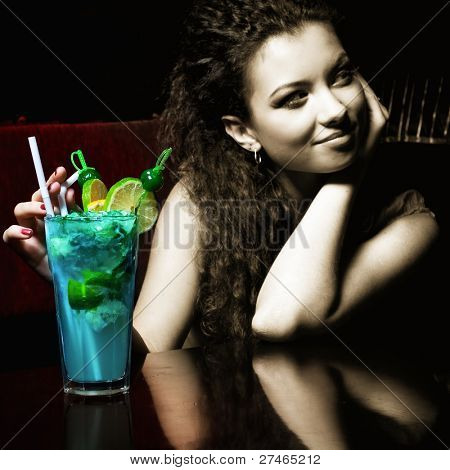 woman with coctail