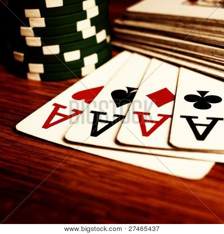 cards with chips on the table