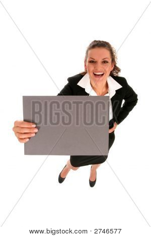 Businesswoman Holding Blank Poster