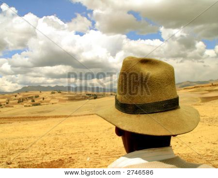 Farmer In The Andes Of Peru