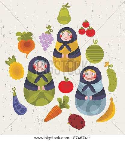 Matreshka doll and some fruits and vegetables.