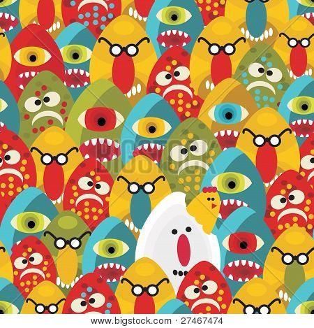verrückte Eier Monster seamless Pattern.