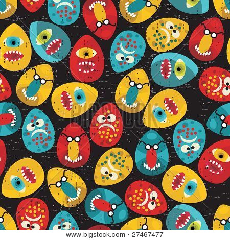Crazy eggs monsters seamless pattern in retro style.