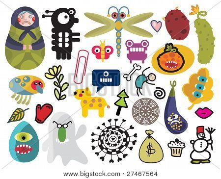 Mix of different vector images and icons. vol.24