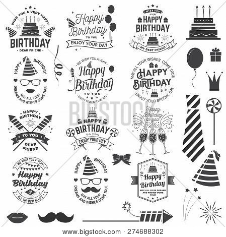 poster of Set Of Happy Birthday Templates For Overlay, Badge, Sticker, Card With Bunch Of Balloons, Gifts, Fir