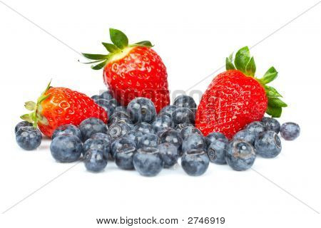 Blueberries And Fresh Tasty Strawberries