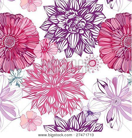 nahtlose Muster mit rosa Astern und Dahlien