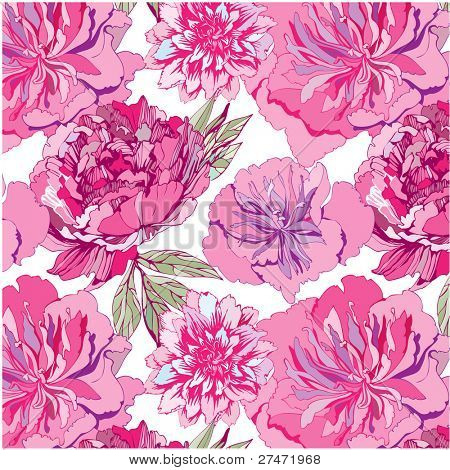 seamless pattern with pink flowers. Peony