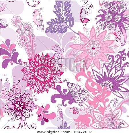 seamless pattern with fairy pink flowers and birds