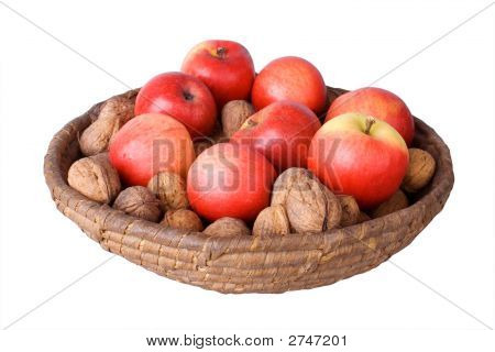 Basket With Walnuts And Apples