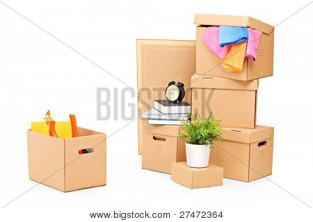 Moving boxes and other moving stuff isolated on white background