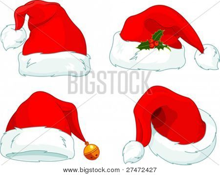 Set of Santa Claus  hat collection