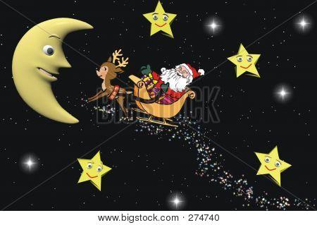 Santa Claus And Moon