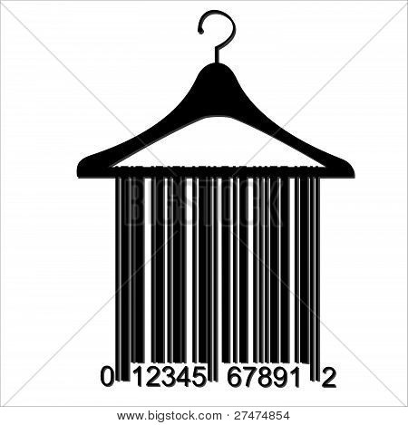 Barcode Clothes Hanger,  Isolated Over Background And Groups, Vector Illustration