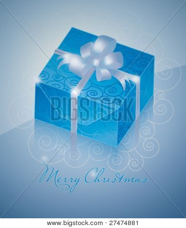 One blue gift box with silver ribbon