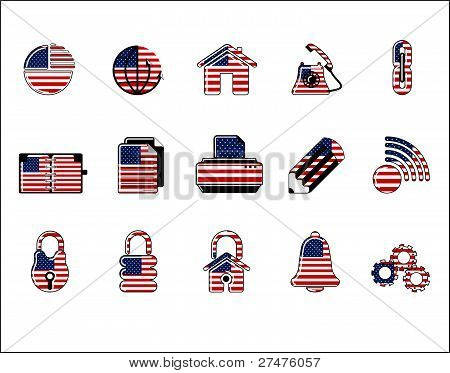 Colorful Usa Web Site & Internet Icon Set, Vector