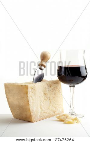 parmesan cheese and wine glass
