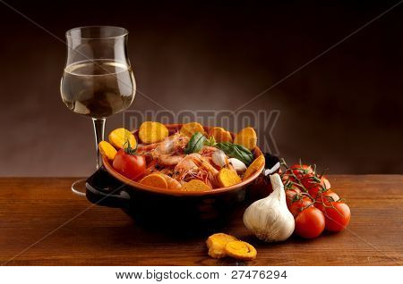 bowl of shrimp and wine