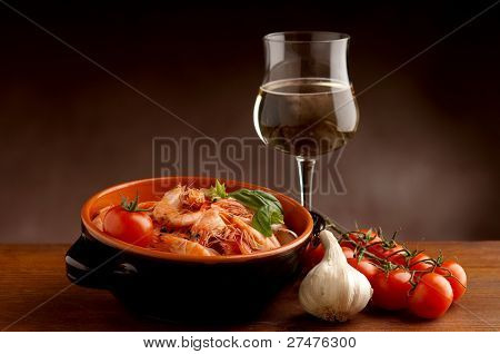 shrimp and wine