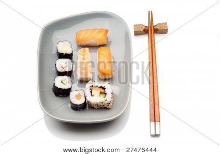 sushi on gray dish