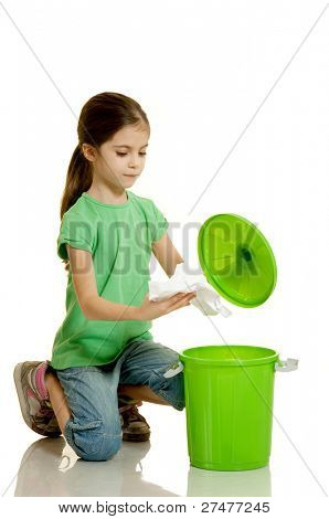 child recycling paper