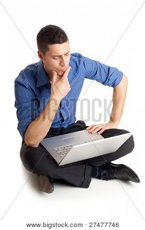 thinking man with laptop