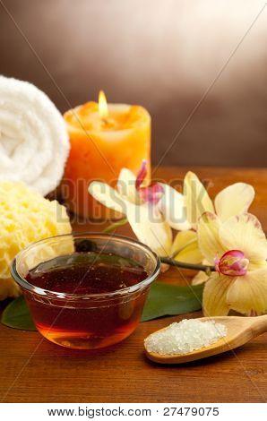 spa oil massage on bowl and bath salts