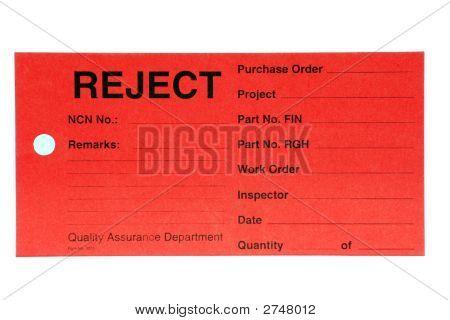 Quality Control Card.